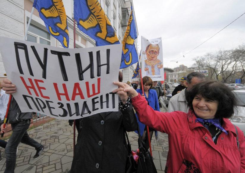 Prieš V. Putino inauguraciją mitinguoja ir jo šalininkai, ir priešininkai