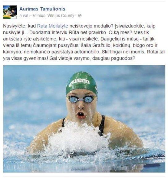 Aurimo Tamulionio įrašas feisbuke