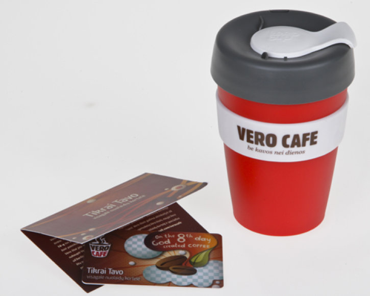 VERO CAFE puodelis 32,50lt ir nuolaidų kortelė - 2lt