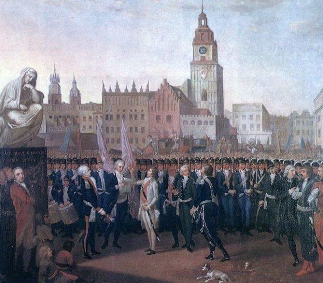 P.Smuglevičius. T.Kostiuškos priesaika Krokuvos turgaus aikštėje