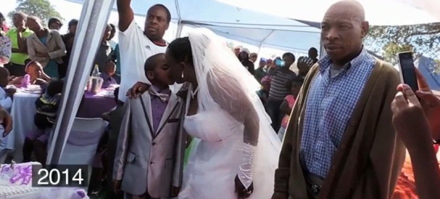 Devynerių metų jaunikis su žmona ir jos vyru