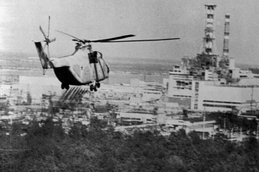 Sraigtasparnis greta elektrinės pila deaktyvuojančias medžiagas.