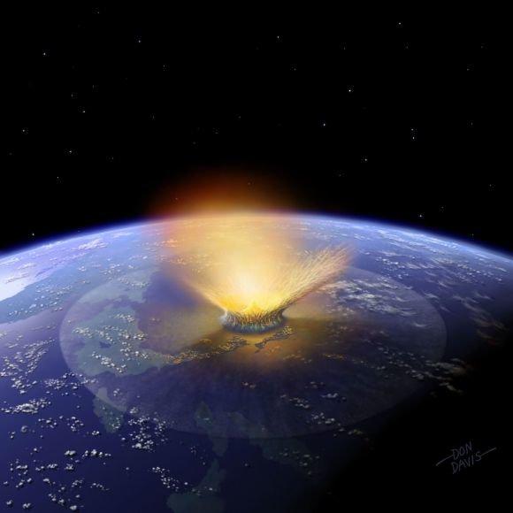 Asteroido susidūrimas su Žeme (kompiuterinis maketas)