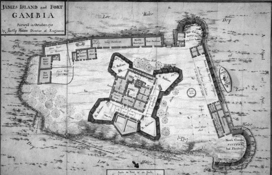 Justly Watson. Jokūbo sala ir jo fortas Gambijoje. 1755