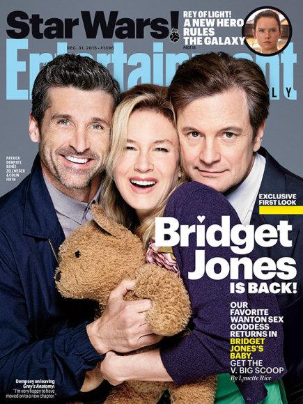 """""""Entertainment Weekly"""" viršelis/Filmo """"Bridžitos Džouns kūdikis"""" aktoriai Patrickas Dempsey, Renee Zellweger ir Colinas Firthas"""
