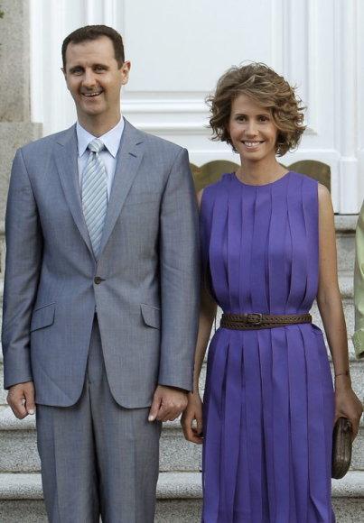 Sirijos prezidentas Basharas al Asadas su žmona Asma