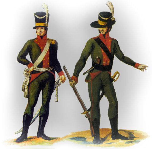 LDK 1-ojo didžiosios buožės pestininkų regimento karininkas ir eilinis apie 1772-1792 m