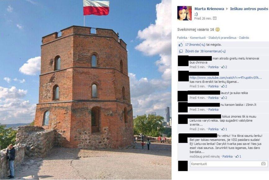 Martos koliažas Facebook'e vasario 16-ąją