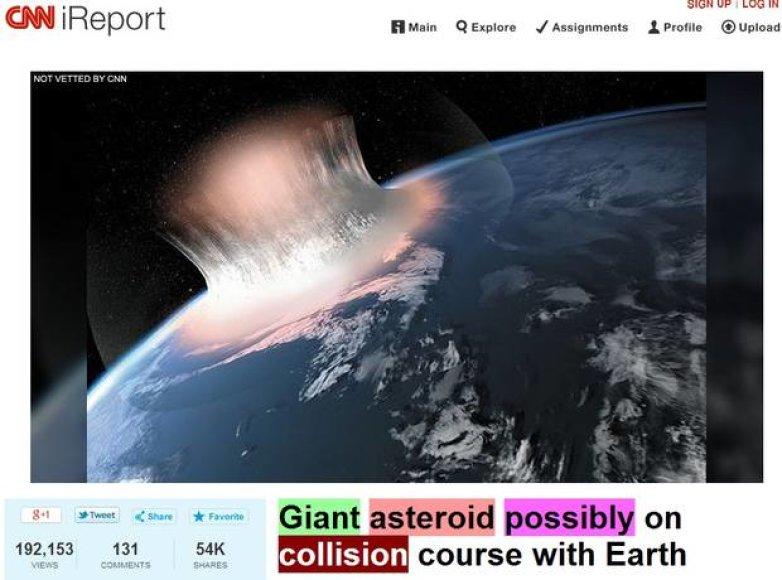 CNN  per klaidą pranešė apie pasaulio pabaigą.