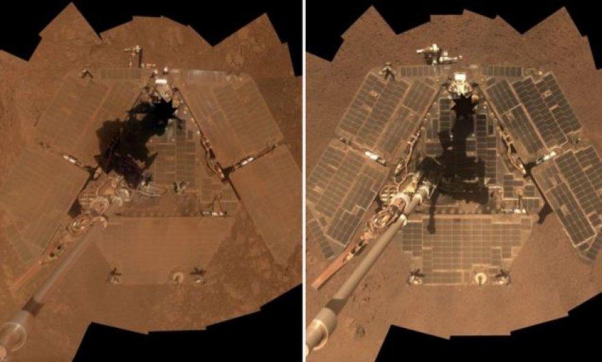 Marsaeigio Opportunity vaizdas šių metų sausį (kairėje) ir kovą (dešinėje)