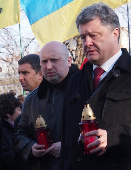 Oleksandras Turčynovas ir Petro Porošenka Maidano pirmųjų metinių minėjime