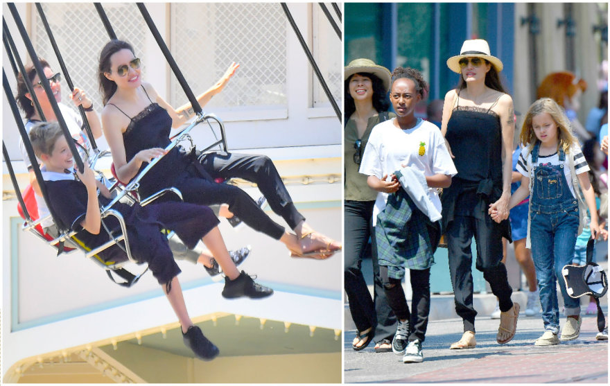 Angelina Jolie su vaikais Disneilende