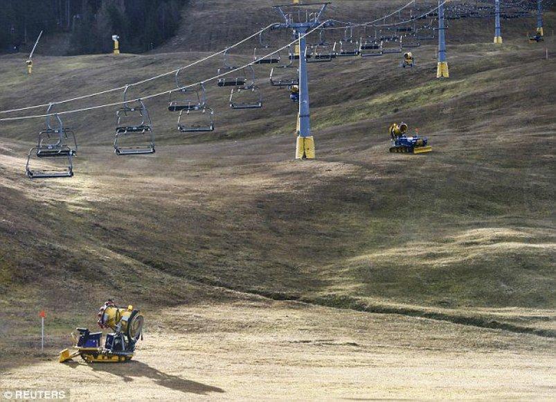 Sniego mašinos Austrijoje, ant Gschwandtkopf kalno.