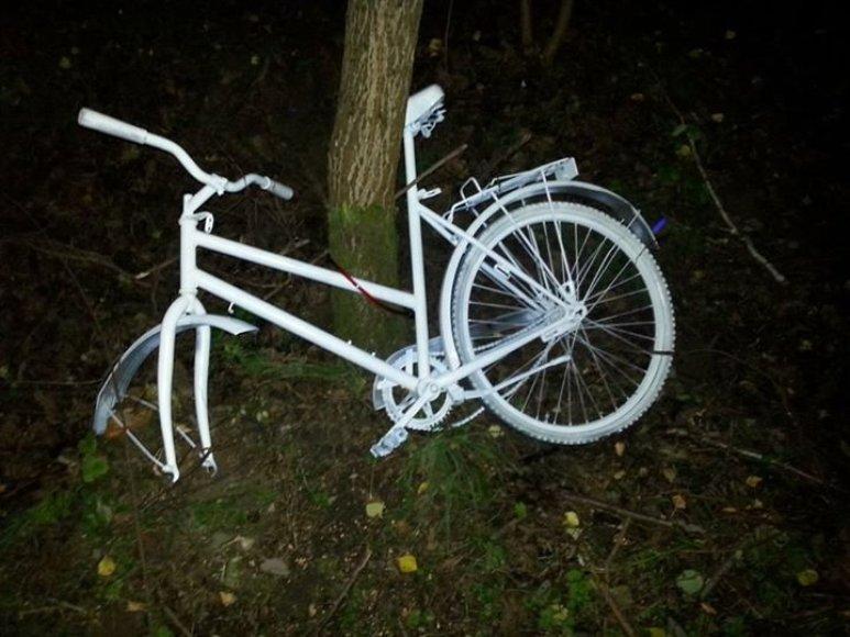 "Išniekintas baltas dviratis/ ""Facebook"" nuotr."