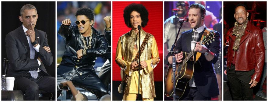 Barackas Obama, Bruno Marsas, Prince'as, Justinas Timberlake'as ir Willas Smithas