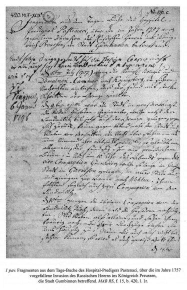F.Pastenacio, špitolės prie Gumbinės bažnyčios pamokslininko, 1757 m. rašyto dienoraščio fragmentas