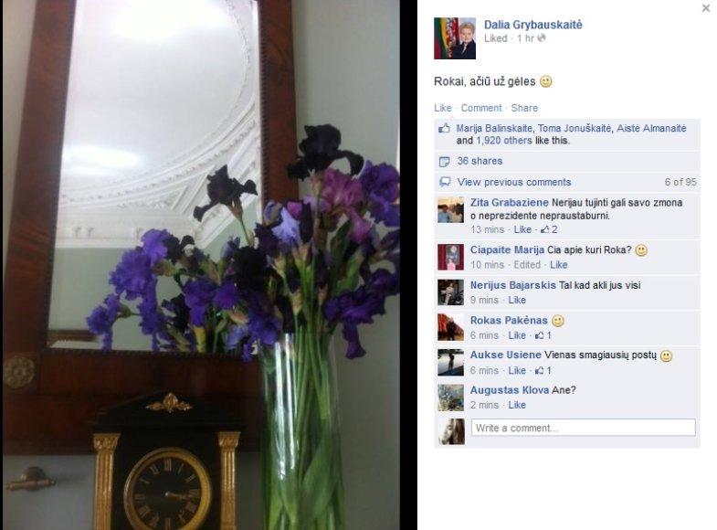 """Dalios Grybauskaitės pranešimas """"Facebook"""" tinkel"""