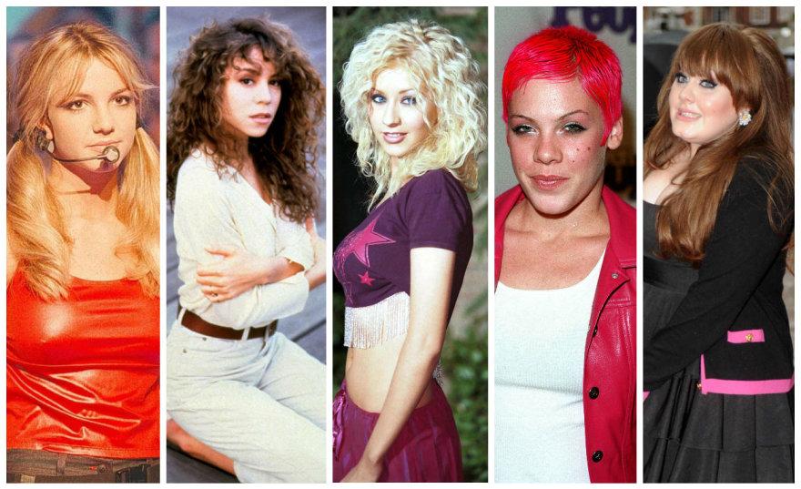 Britney Spears, Mariah Carey, Christina Aguilera, Pink ir Adele savo karjeros pradžioje