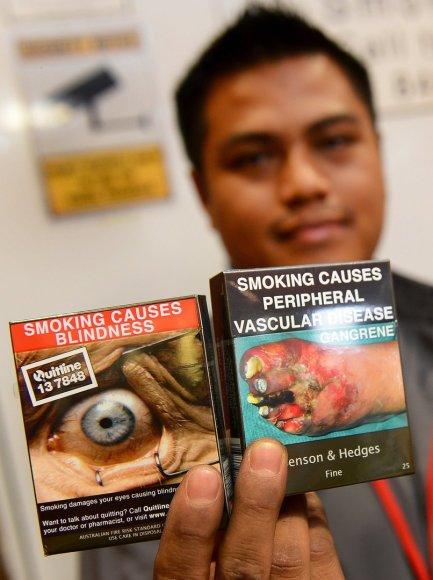 Cigarečių pakuotė Australijoje