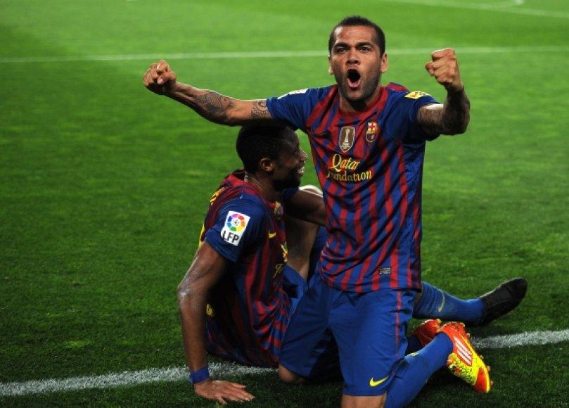 """""""Barcelona"""" futbolininkų džiaugsmas."""