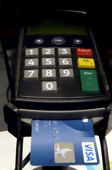 Mokėjimo kortelių skaitytuvas Stokholmo parduotuvėje