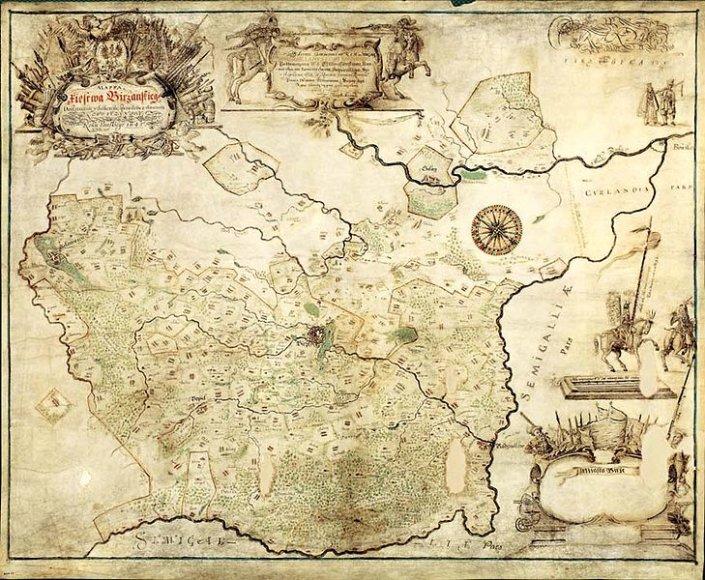 Biržų kunigaikštystės 1645 m. žemėlapis