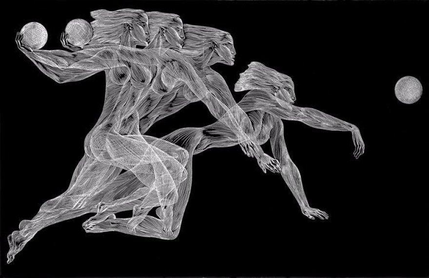 """Rankinis. Iš ciklo """"Judesys""""1970, autocinkografija, 32,5 x 50 cm / Modernaus meno centro kolekcija"""