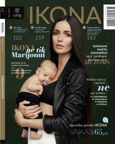 """Žurnalo """"Ikona"""" viršelis/Ieva Daugirdaitė su sūnumi Majumi Mikutavičiumi"""