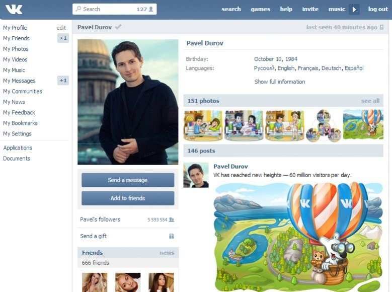 Pavelo Durovo anketa Rusijos socialiniame tinkle VKontakte
