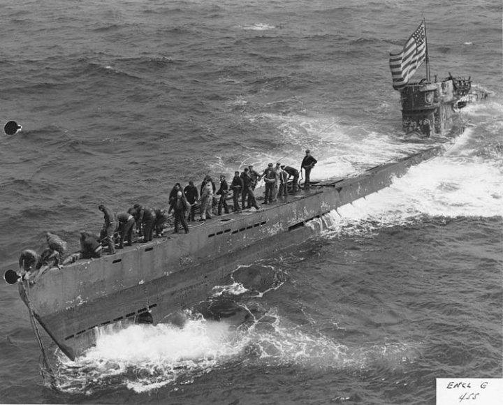 """""""U-505"""" netrukus po užėmimo"""