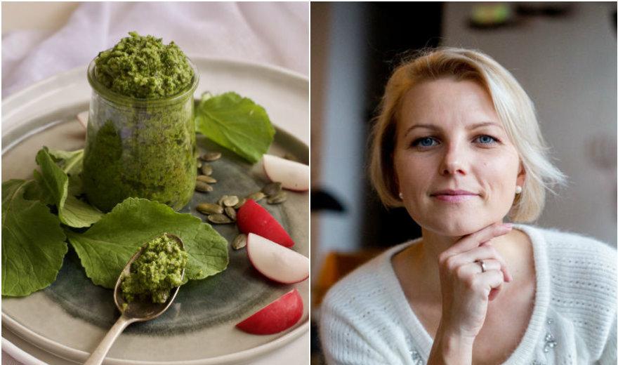 """Knygos """"Prancūzijos virtuvė"""" autorės receptas: ridikų lapų ir moliūgų sėklų pesto padažas"""