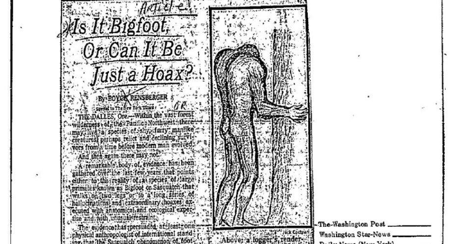 Archyvinė straipsnio apie sniego žmogų iškarpa