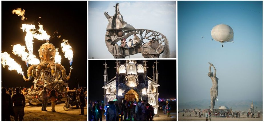 """2013 metų """"Burning man"""" festivalio skulptūros"""