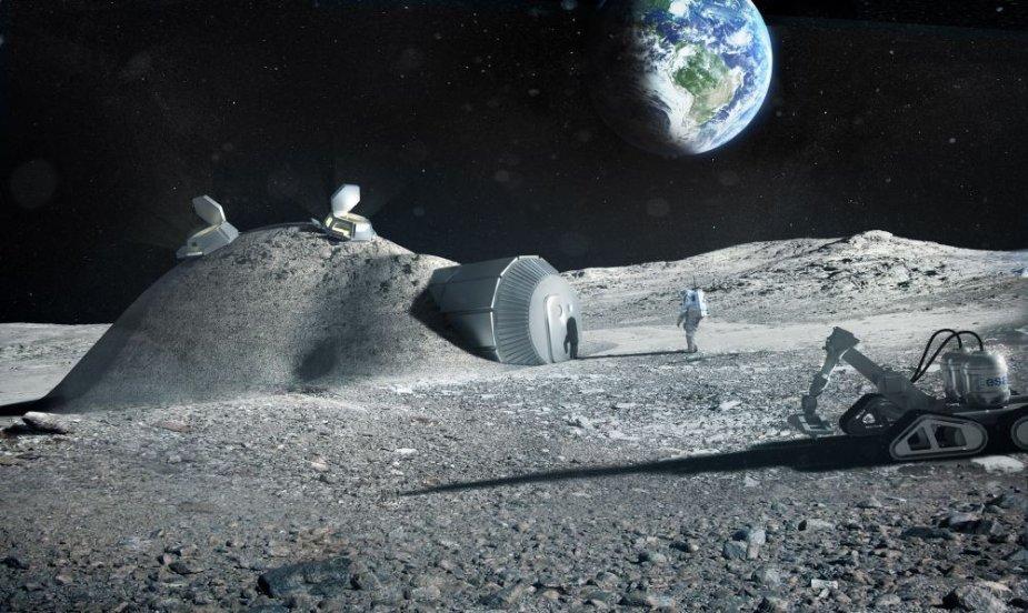 Kosminė bazė Mėnulyje, kuri būtų statoma pramonei skirto dydžio 3D spausdintuvu