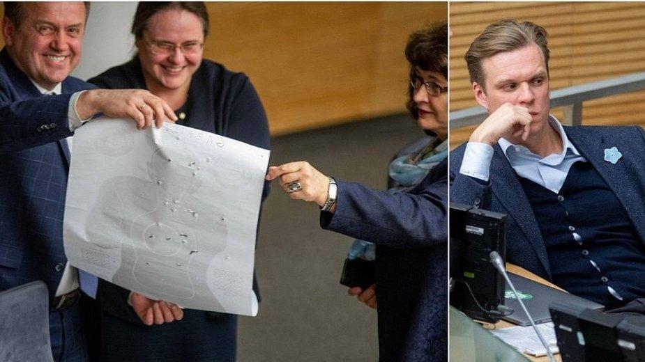 """Valdančiųjų """"pokštas"""" Seimo salėje – suvarpytas taikinys su įsivaizduojamu G.Landsbergiu?"""
