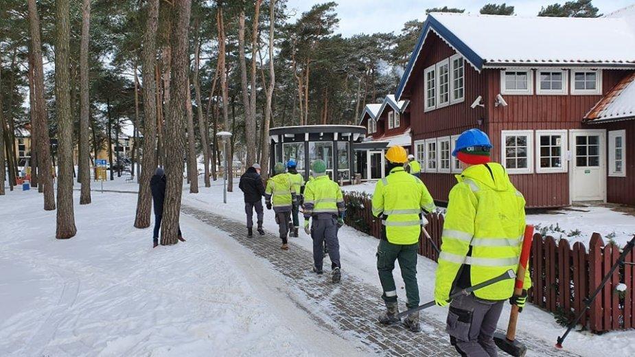 """Statybininkai pirmadienį gūžėjo į """"Nidos seklyčią"""", kur prasidėjo svečių namų griovimo darbai."""