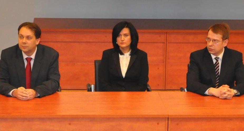 Vilniaus miesto apylinkės teismo pirmininkė Loreta Braždienė, pavaduotojai Alenas Piesliakas (kairėje), Gediminas Viederis.