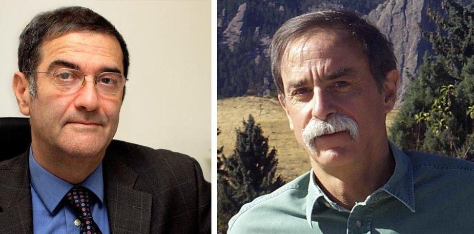 Nobelio fizikos premijos laureatai Serge Haroche (k.) ir Davidas Winelandas (JAV).