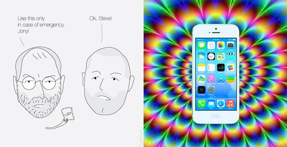 """Internautai šmaikštauja, esą spalvingą """"iOS 7"""" aplinką Jonathanas Ive'as sugalvojo pavartojęs narkotikų, kurie vienu metu suteikė įkvėpimo ir buvusiam """"Apple"""" vadovui Steve'ui Jobsui"""