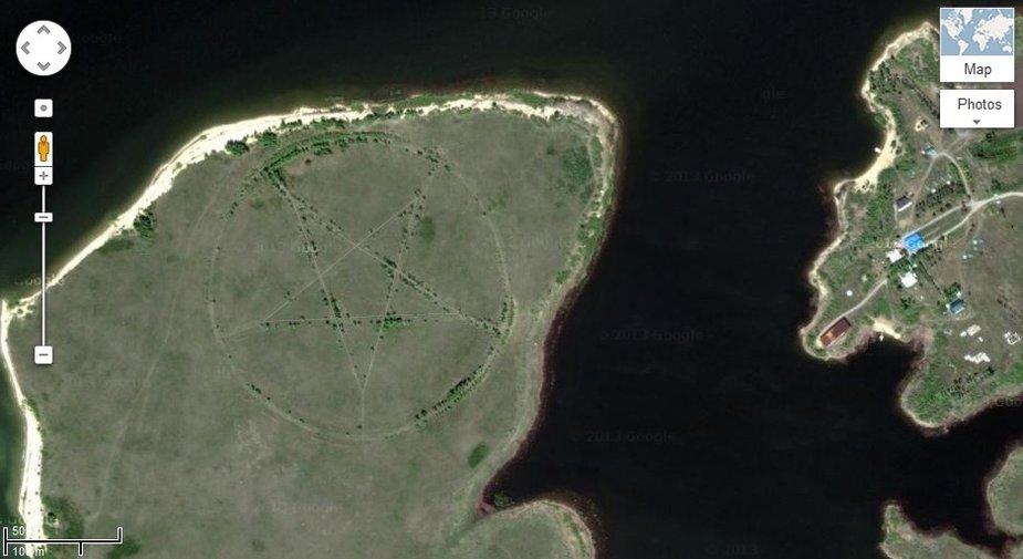 """""""Google Maps"""" naršytojai Kazachstano pasienyje netoli Čeliabinsko rado milžinišką pentagramą"""