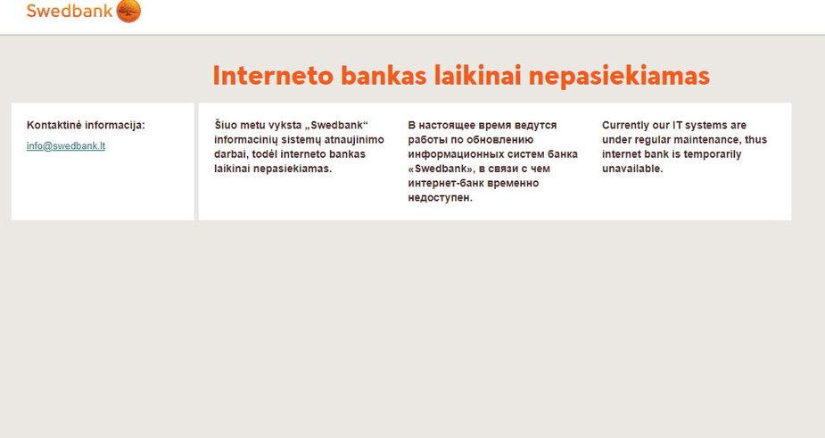 """Sutriko """"Swedbank"""" internetinės bankininkystės veikla"""