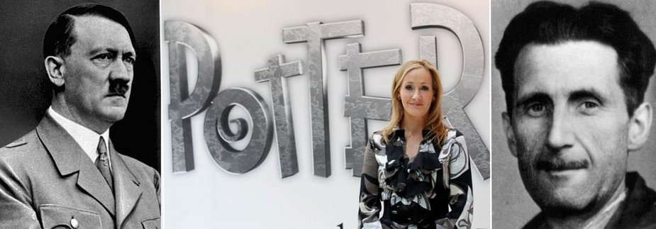 A.Hitleris (kairėje), JK Rowling ir G.Orwellas