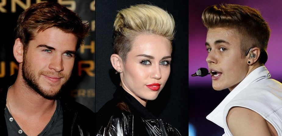 Liamas Hemsworthas, Miley Cyrus ir Justinas Bieberis