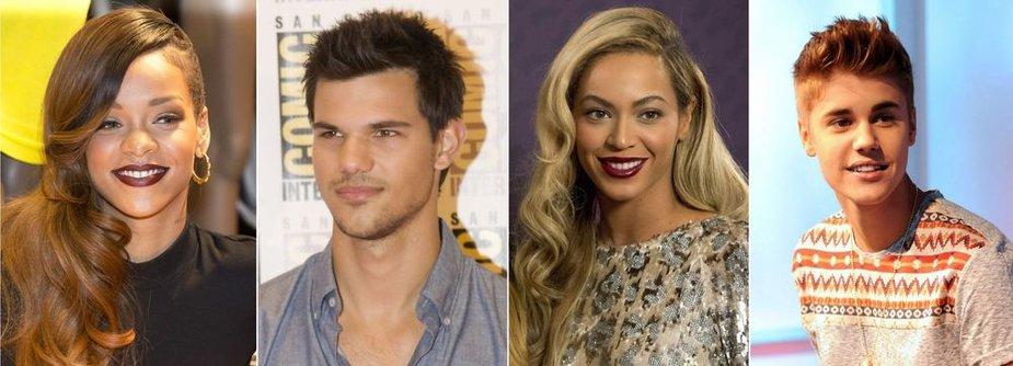 Rihanna, Tayloras Lautneris, Beyonce ir Justinas Bieberis