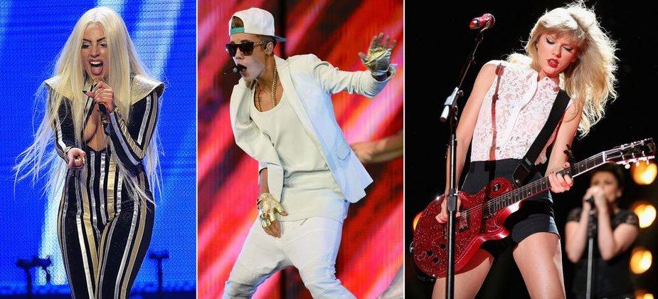 Lady Gaga, Justinas Bieberis ir Taylor Swift