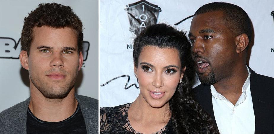Kim Kardashian ir Kanye Westas bei Krisas Humphriesas (kairėje)