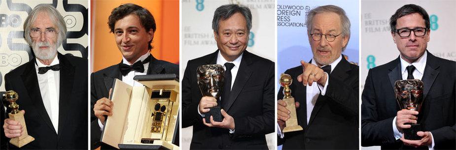"""Pretendentai į 2013-ųjų geriausio režisieriaus """"Oskarą"""" (iš kairės): Michaelis Haneke, Benhas Zeitlinas, Angas Lee, Stevenas Spielbergas ir Davidas O. Russellas"""