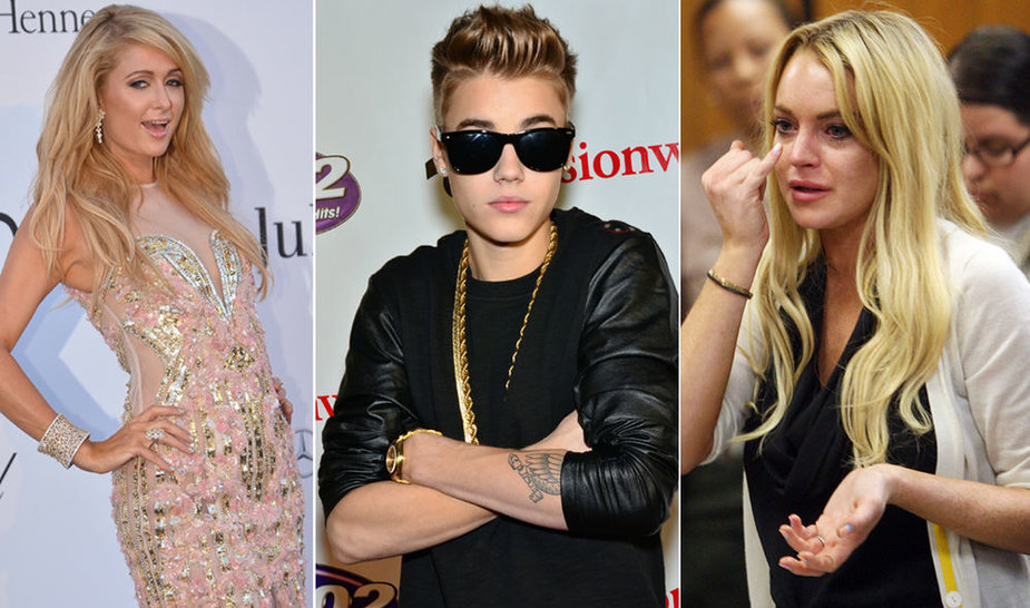 Iš kairės: Paris Holton, Justin Bieber ir Lindsay Lohan