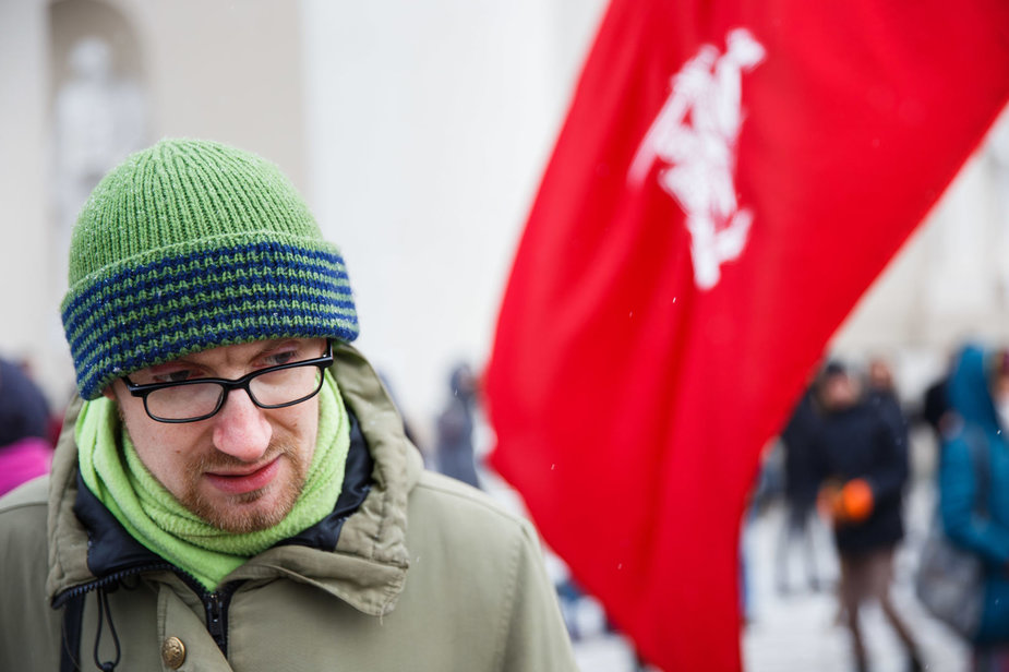 Josvydo Elinsko / 15min nuotr./Andrėjus Gaidamavičius eitynėse prieš plynus kirtimus
