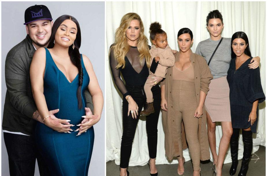 Robas Kardashianas su buvusia sužadėtine Blac Chyna ir jo seserys KhloeKardashian, Kim Kardashian, Kendall Jenner ir Kourtney Kardashian